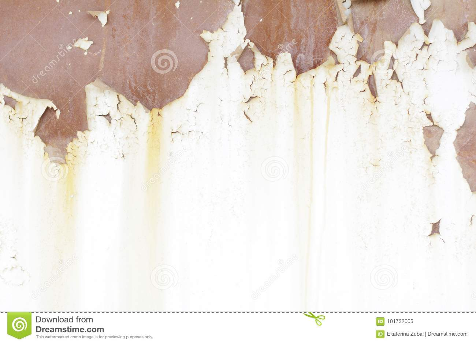 white garage door texture. Metallic Old Wall. Garage Door. Texture. Grunge Style Background. Peeling Paint, Rust, White And Brown Tones Door Texture