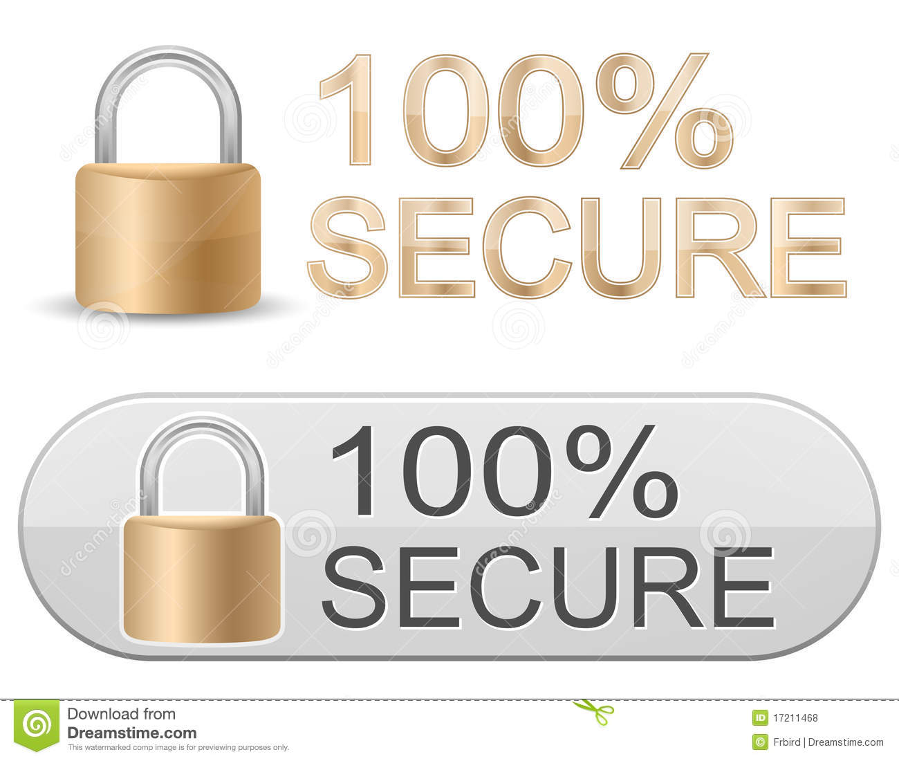 Metallic Padlock Ssl Certificate Signs Stock Vector Illustration