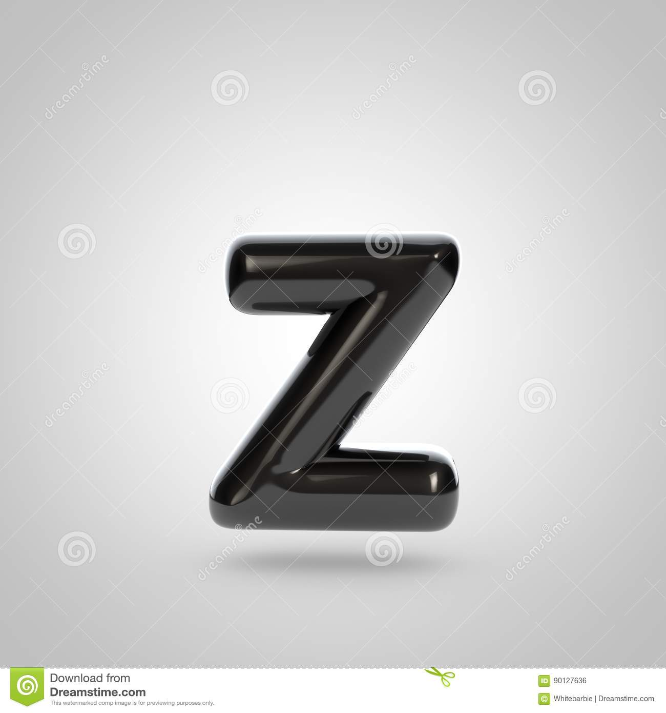 Metallic Paint Black Letter Z Lowercase Stock Illustration