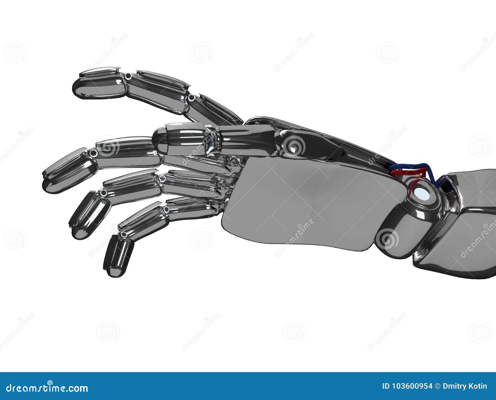 Metallic Robot Hand  3d Rendering Stock Photo - Image of