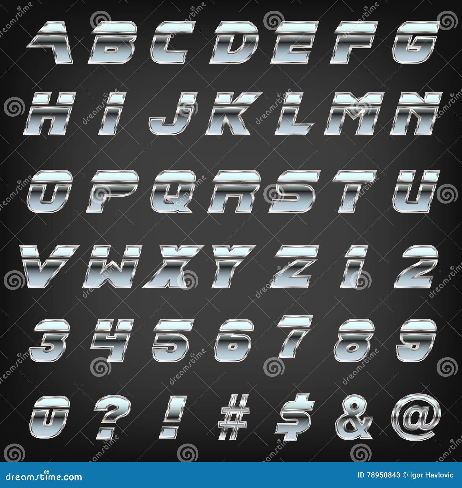 Gray Alphabet Font: Metallic Sharp Edged Font Typeset On Grey Background