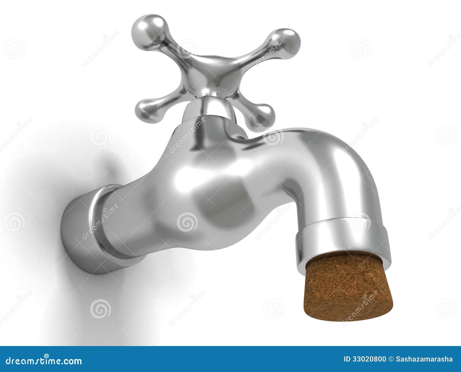 Metallic Shiny Faucet Tap Water Sink Plumbing Cork Stock