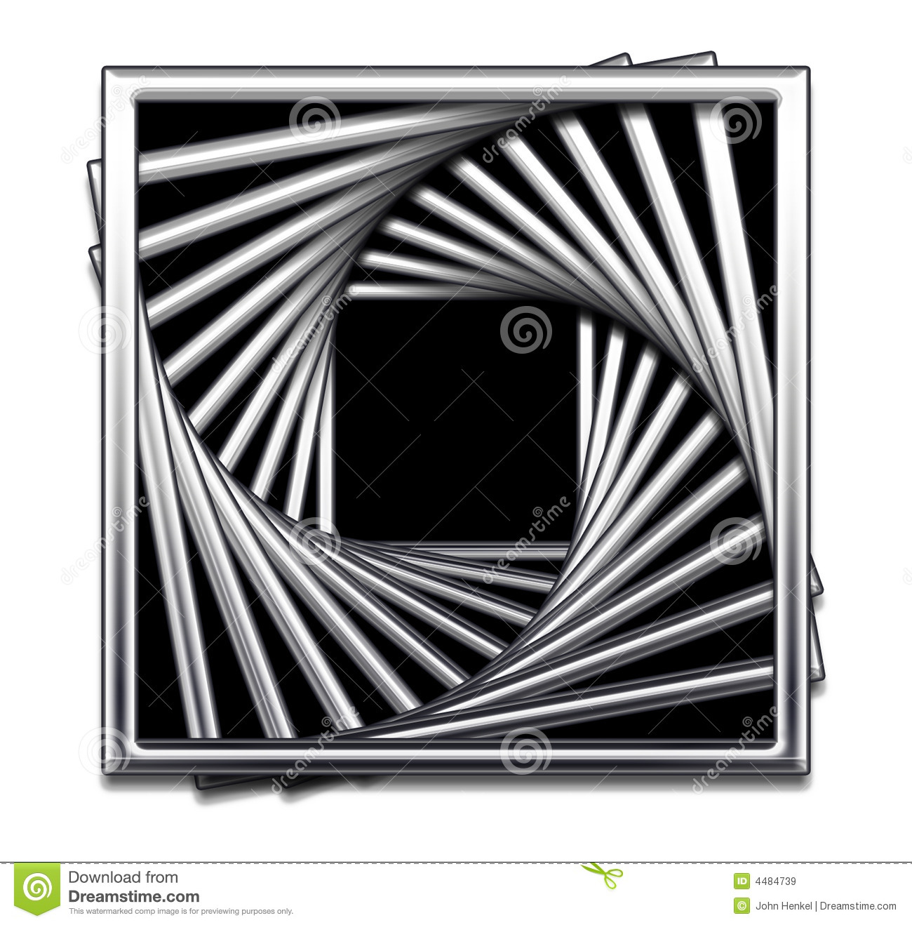 Metallic Square Abstract Design in Black and White