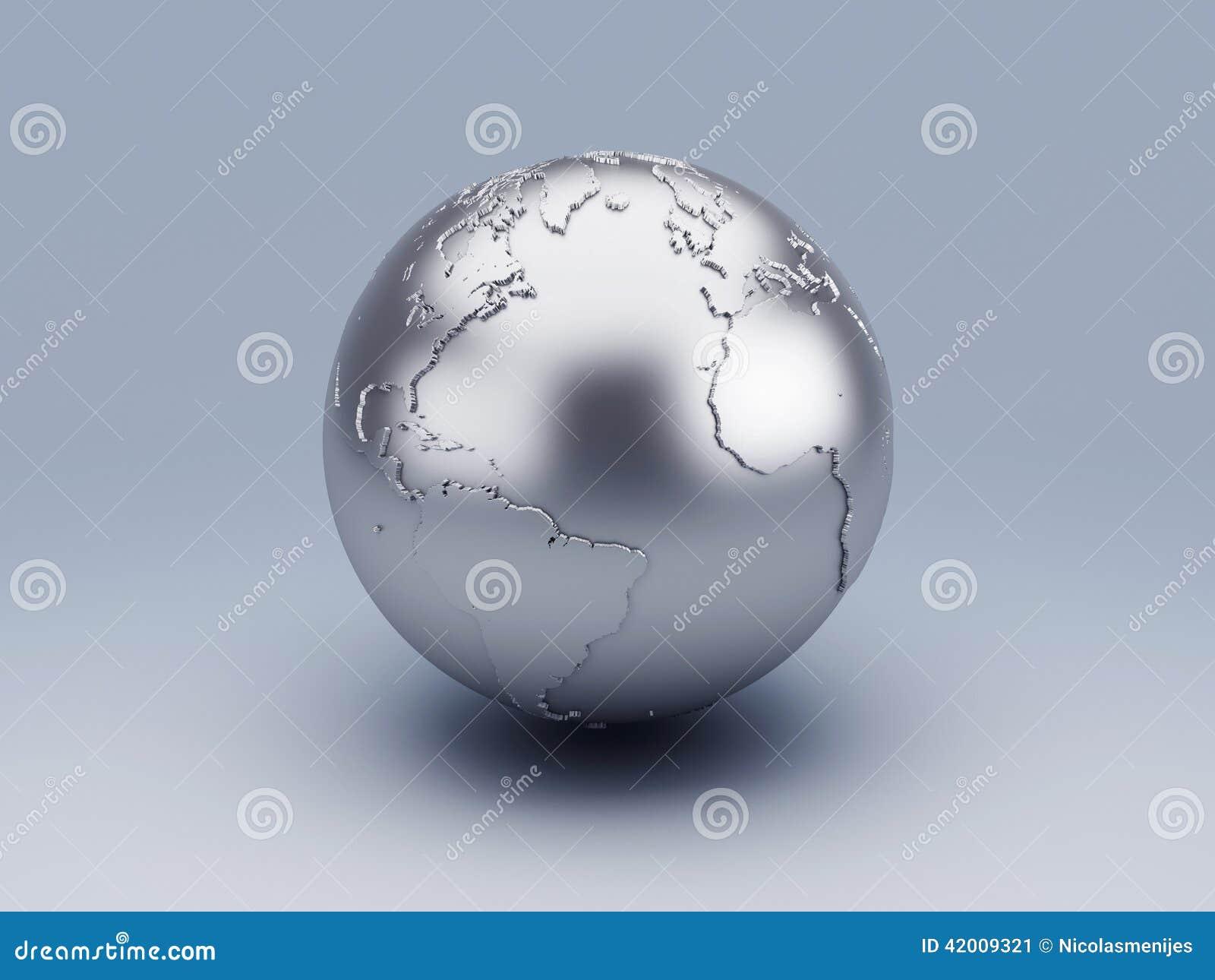 Wunderbar Weltkugel 3d Dekoration Von Pattern Metallische Stock Abbildung. Tration Von Schatten