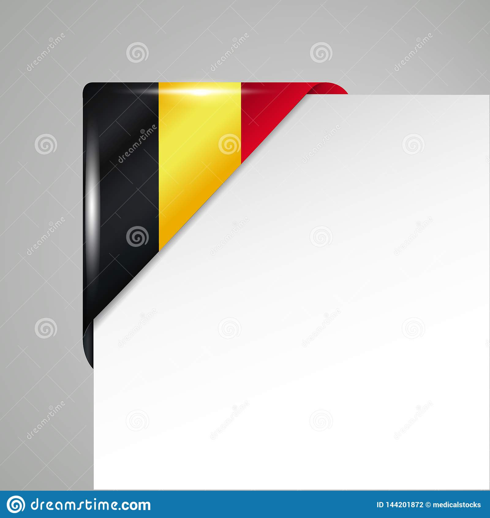 Metalliskt illustration för vektor för Belgien flagga hörn isolerad