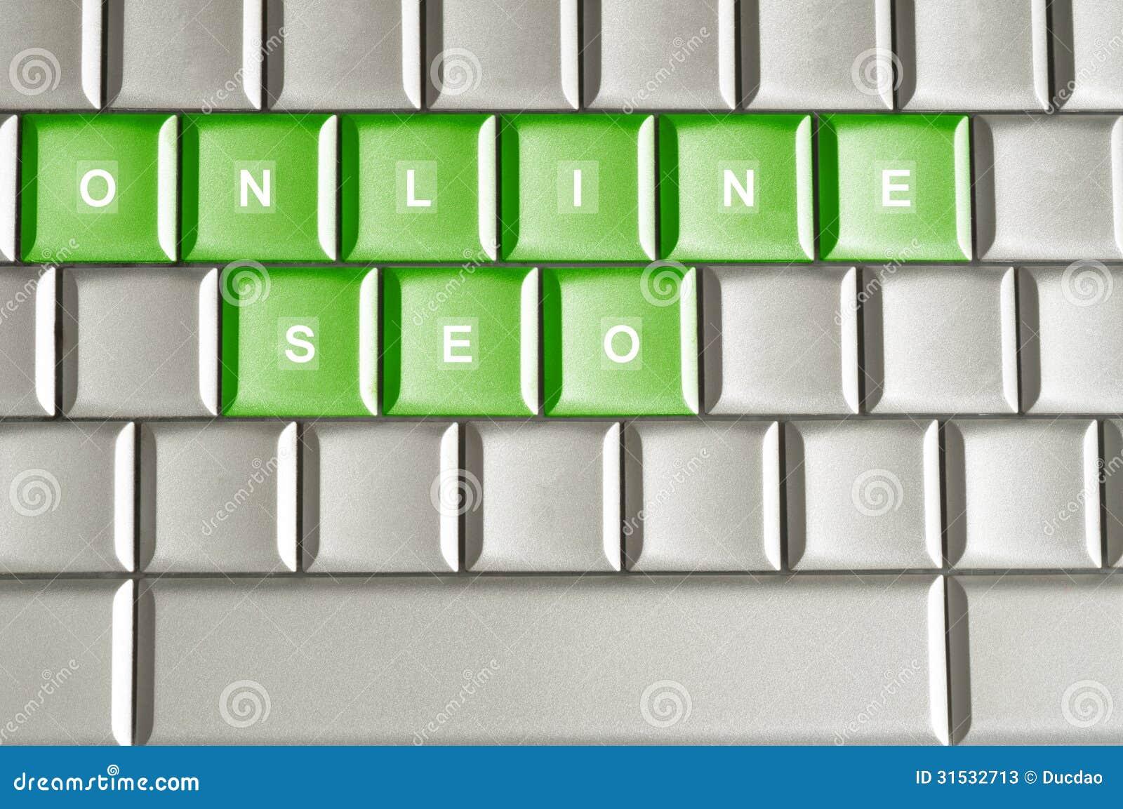 Metalliskt tangentbord med ordet ONLINE-SEO