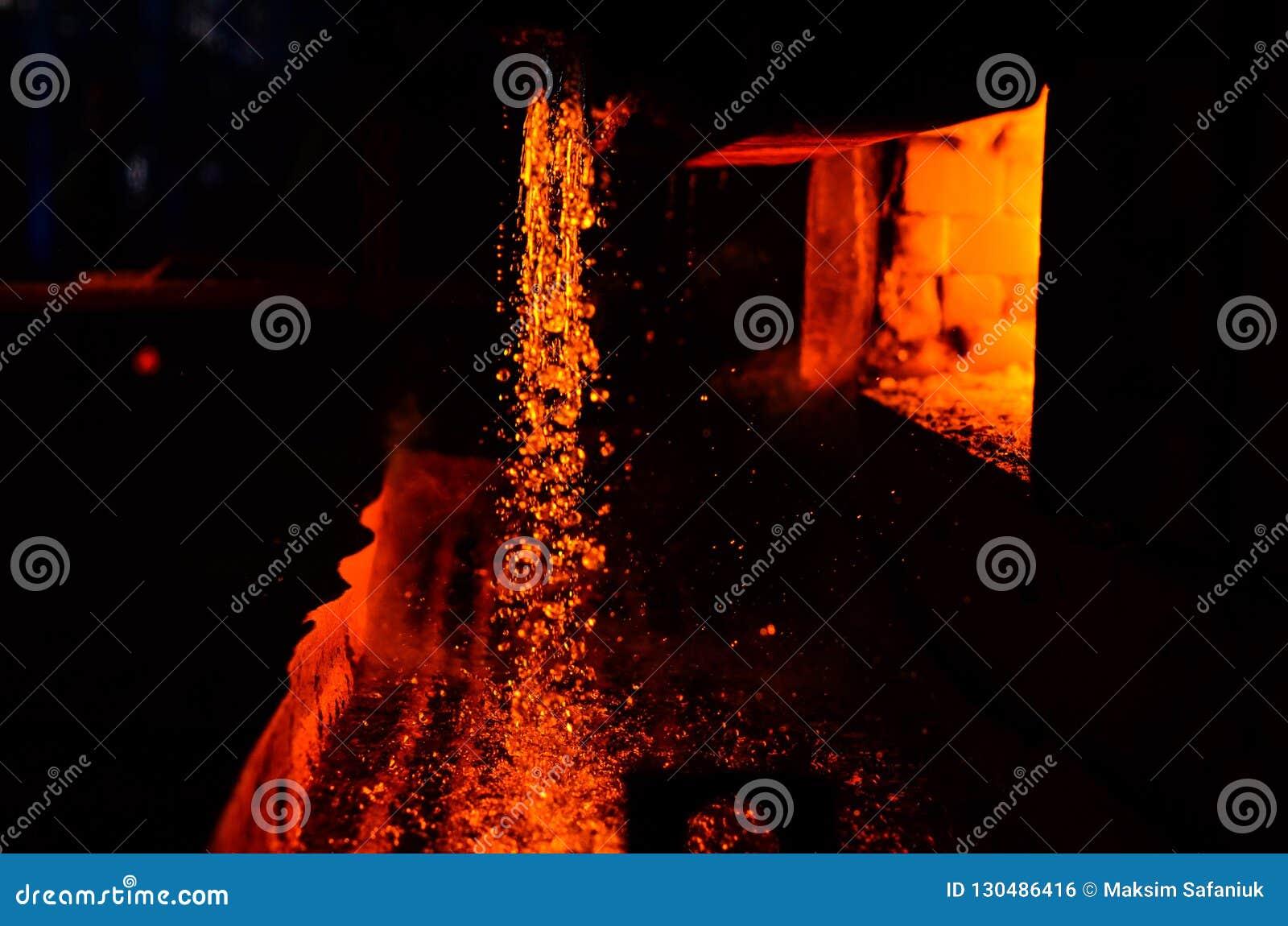 Metallo sulla colata Altoforno metallurgia Per fondo e struttura astratti