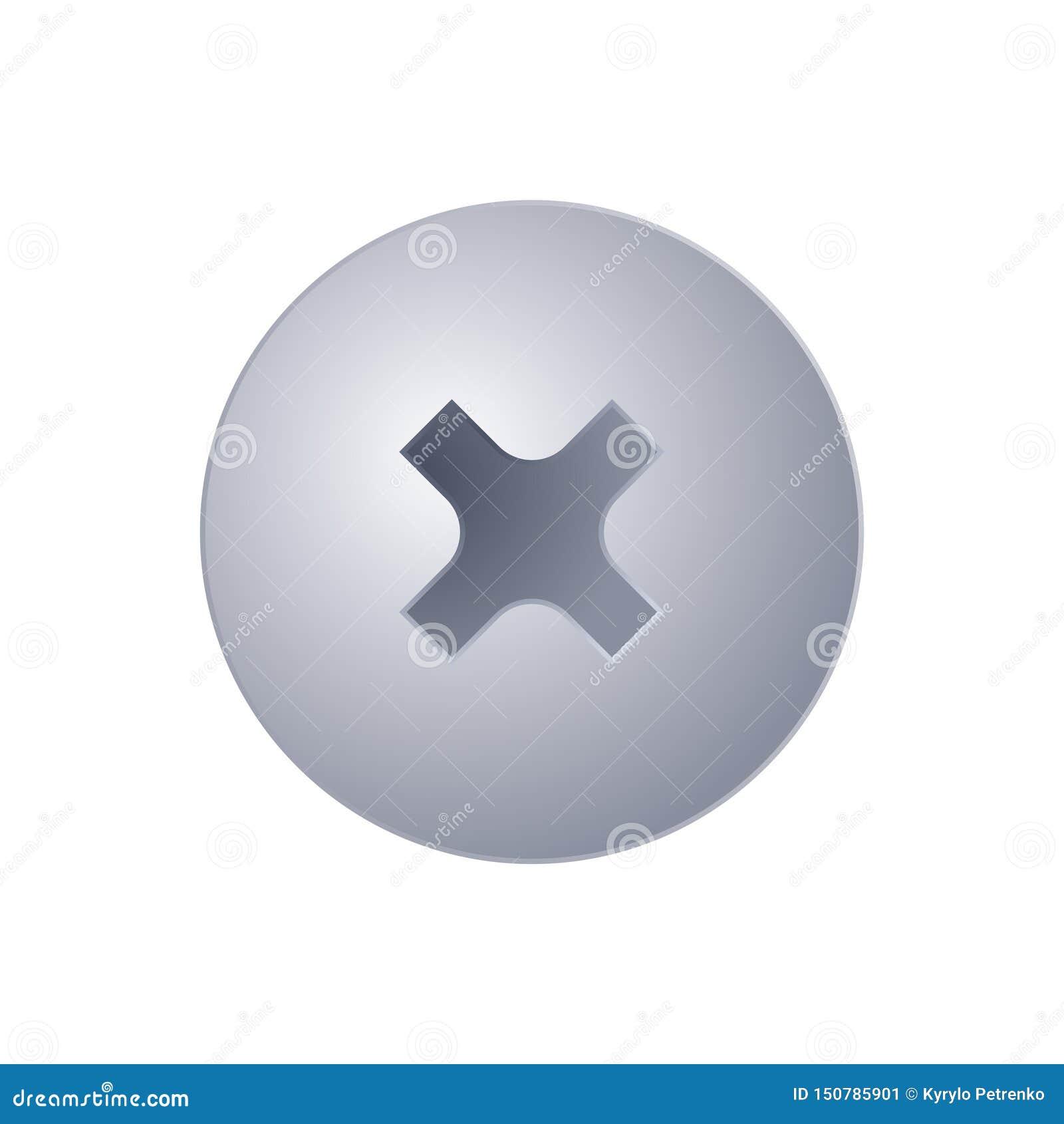 Metallschraubenkopfansicht von der Spitze