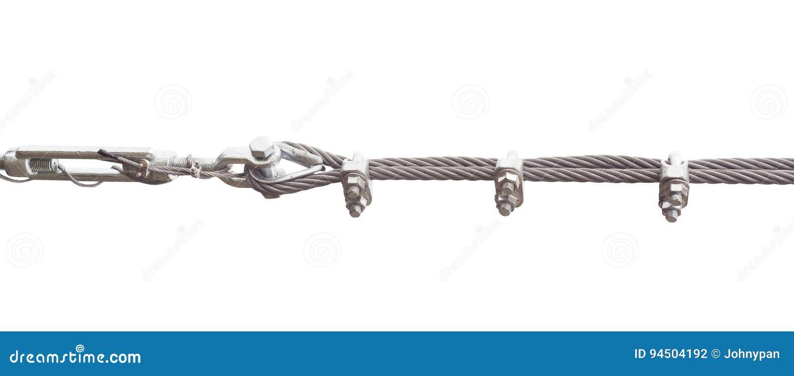 Metallseil Vom Stahl Lokalisiert Auf Weiß Stockfoto - Bild von ...