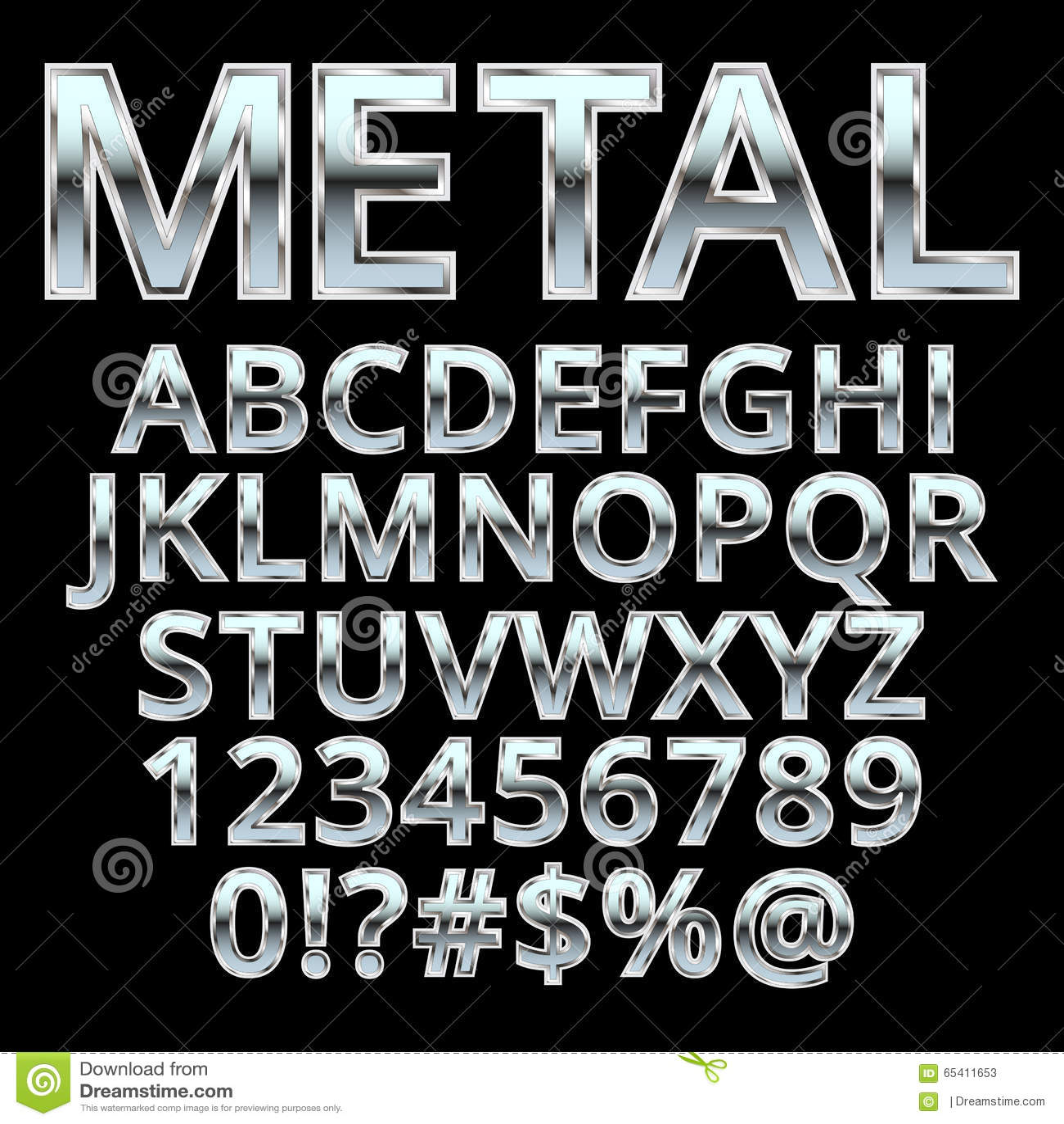 Metalu stylowy abecadło