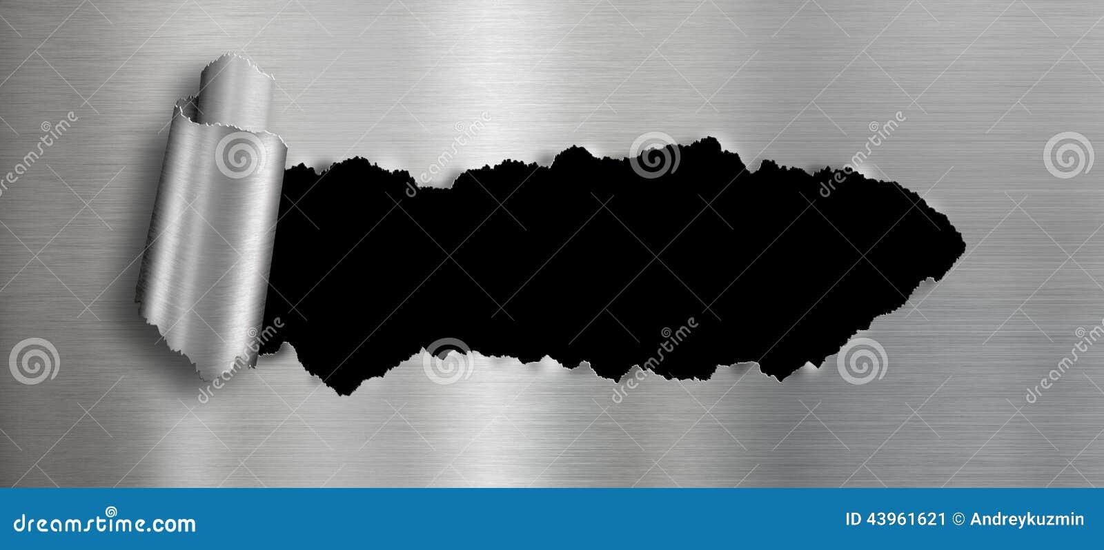 Metalu tło z odosobniony czerń rozdzierającą dziurą