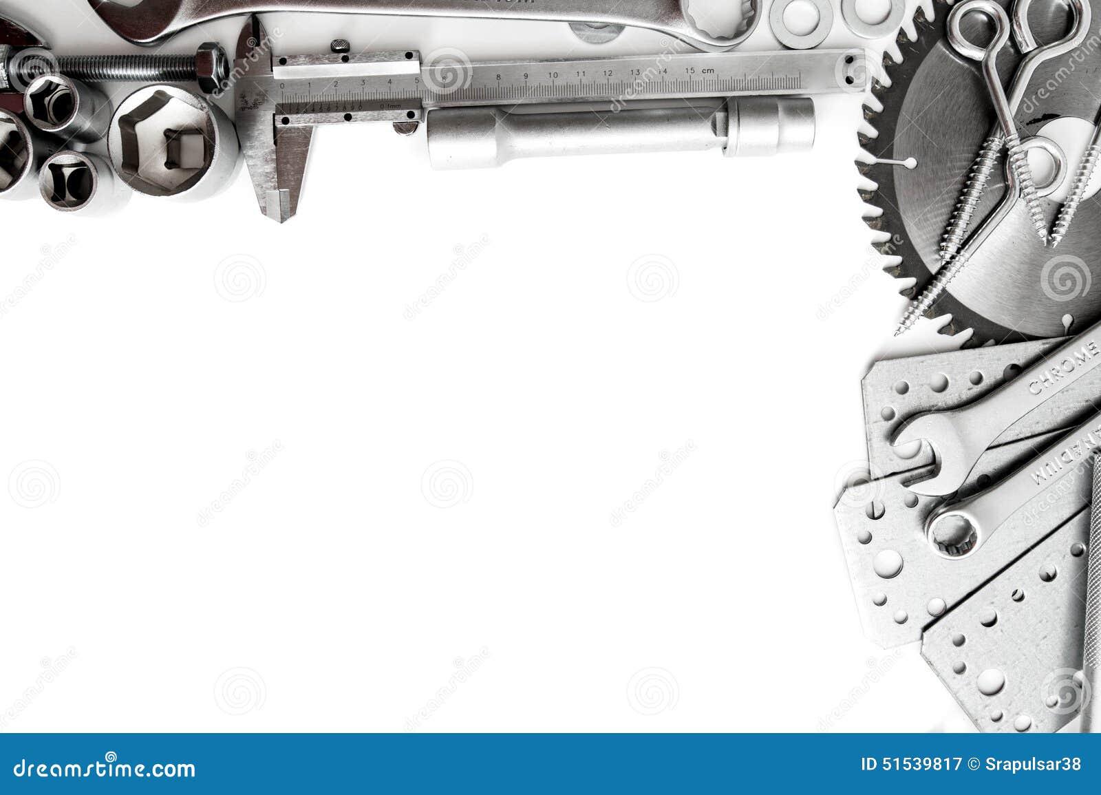 Metalwork Linjal, skiftnyckel, skruv och andra hjälpmedel