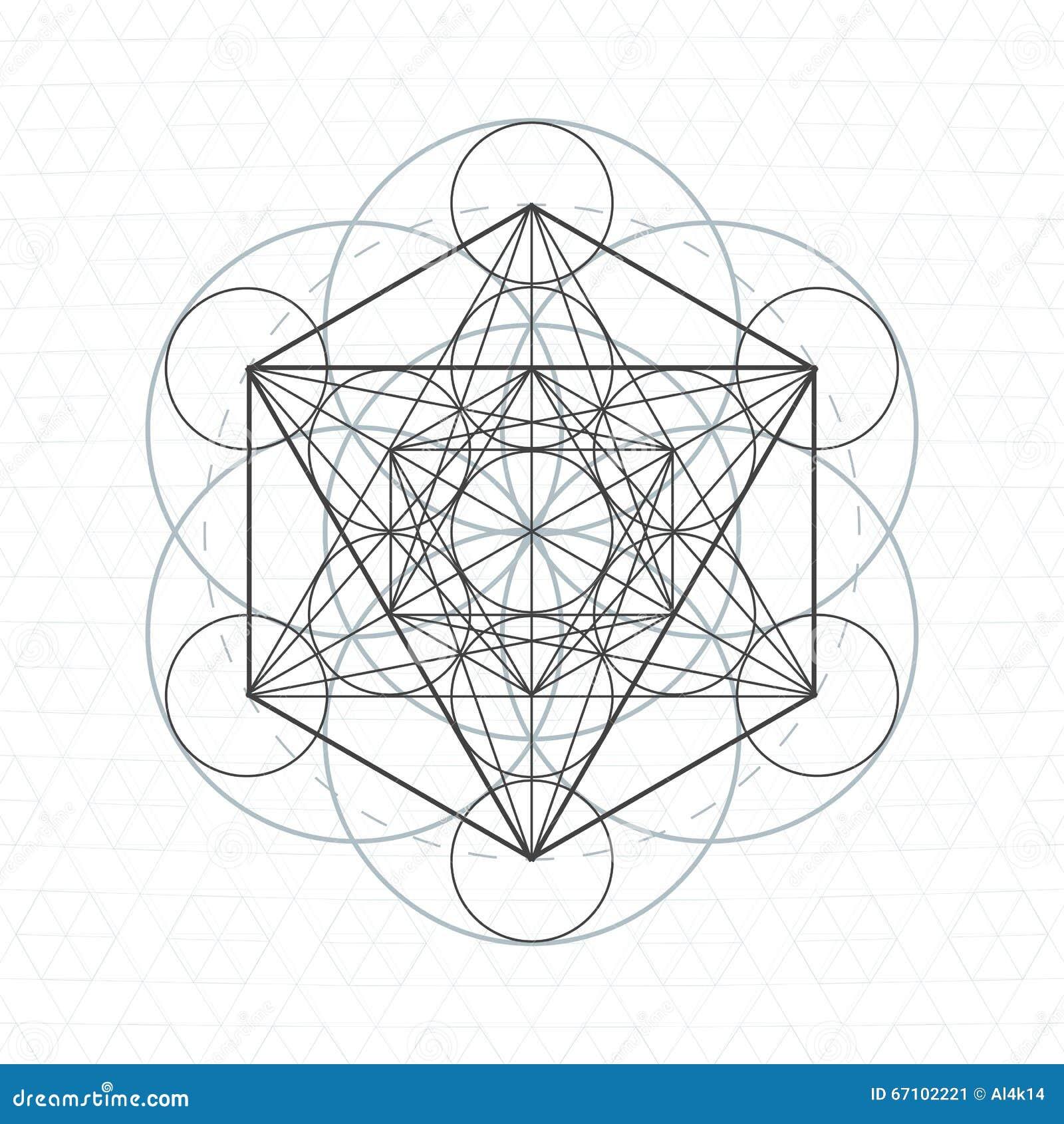 Metatron Outline Seed Of Life Sacred Geometry Stock Vector