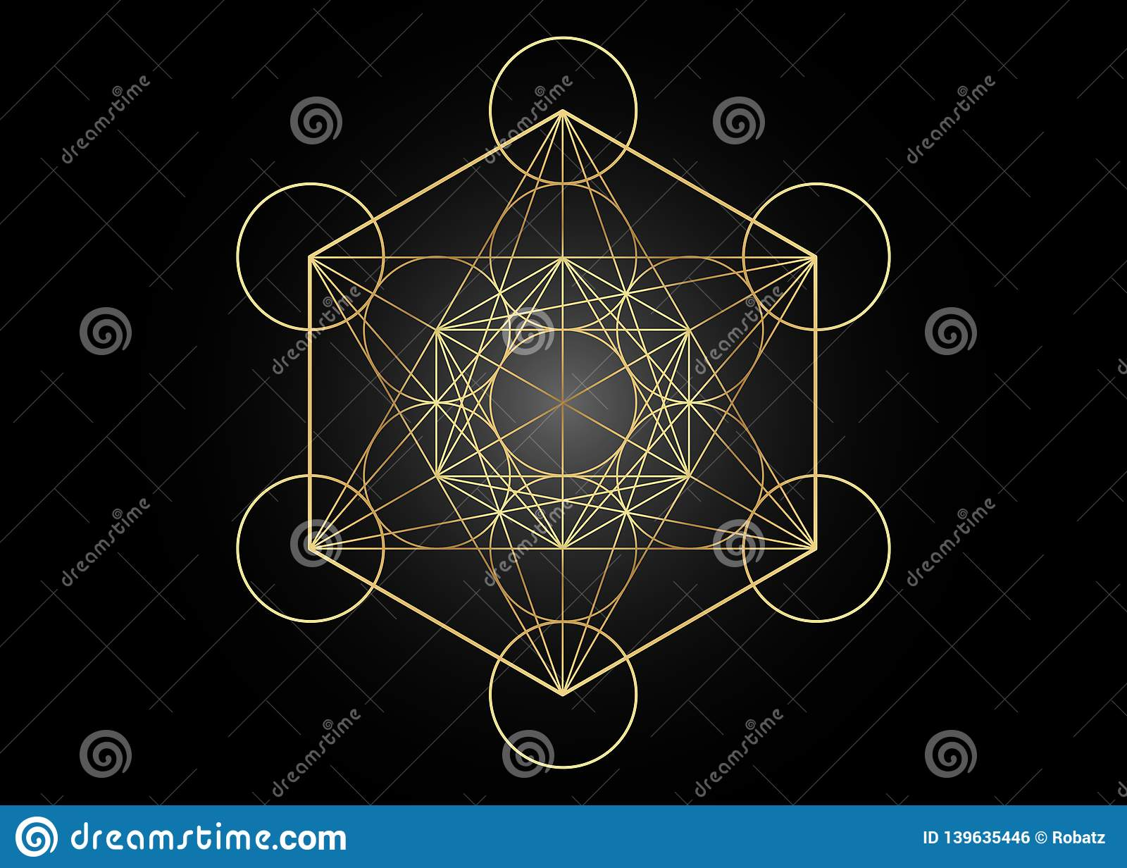 Metatrons Cube, Flower of Life. Golden Sacred geometry, graphic element Vector isolated Illustration. Mystic icon platonic solids