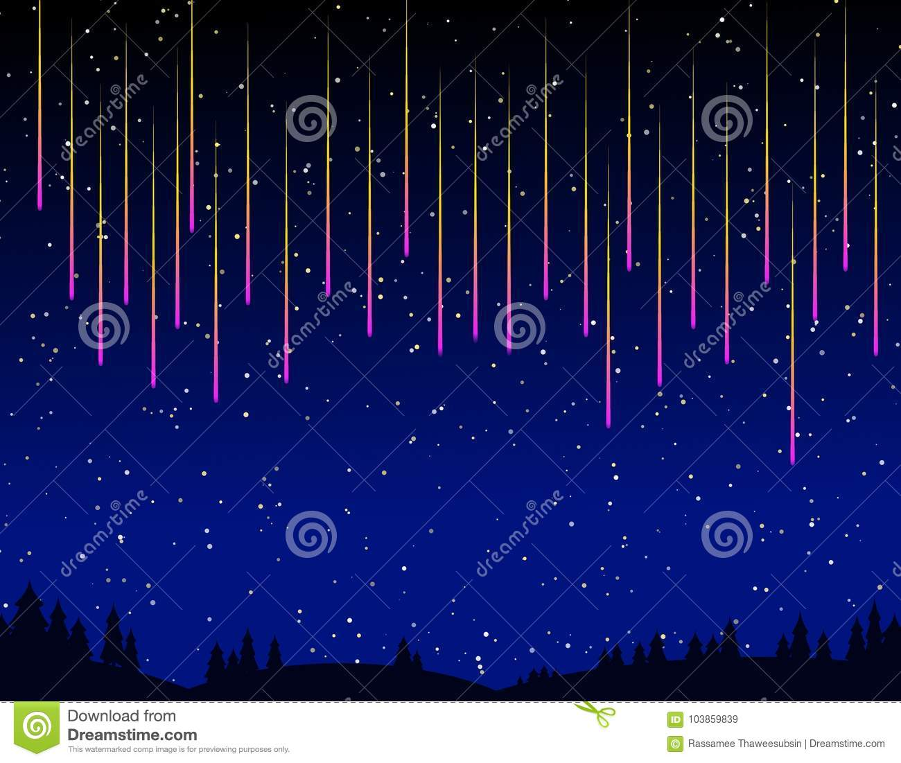 Meteor Shower Over The Forest Stock Illustration