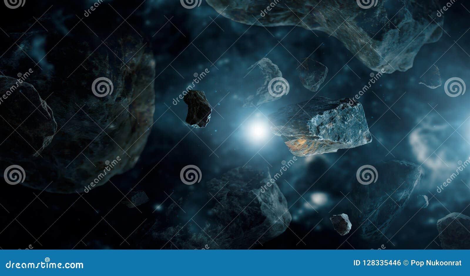 Meteorito em planetas do espaço profundo Asteroides no sistema solar distante