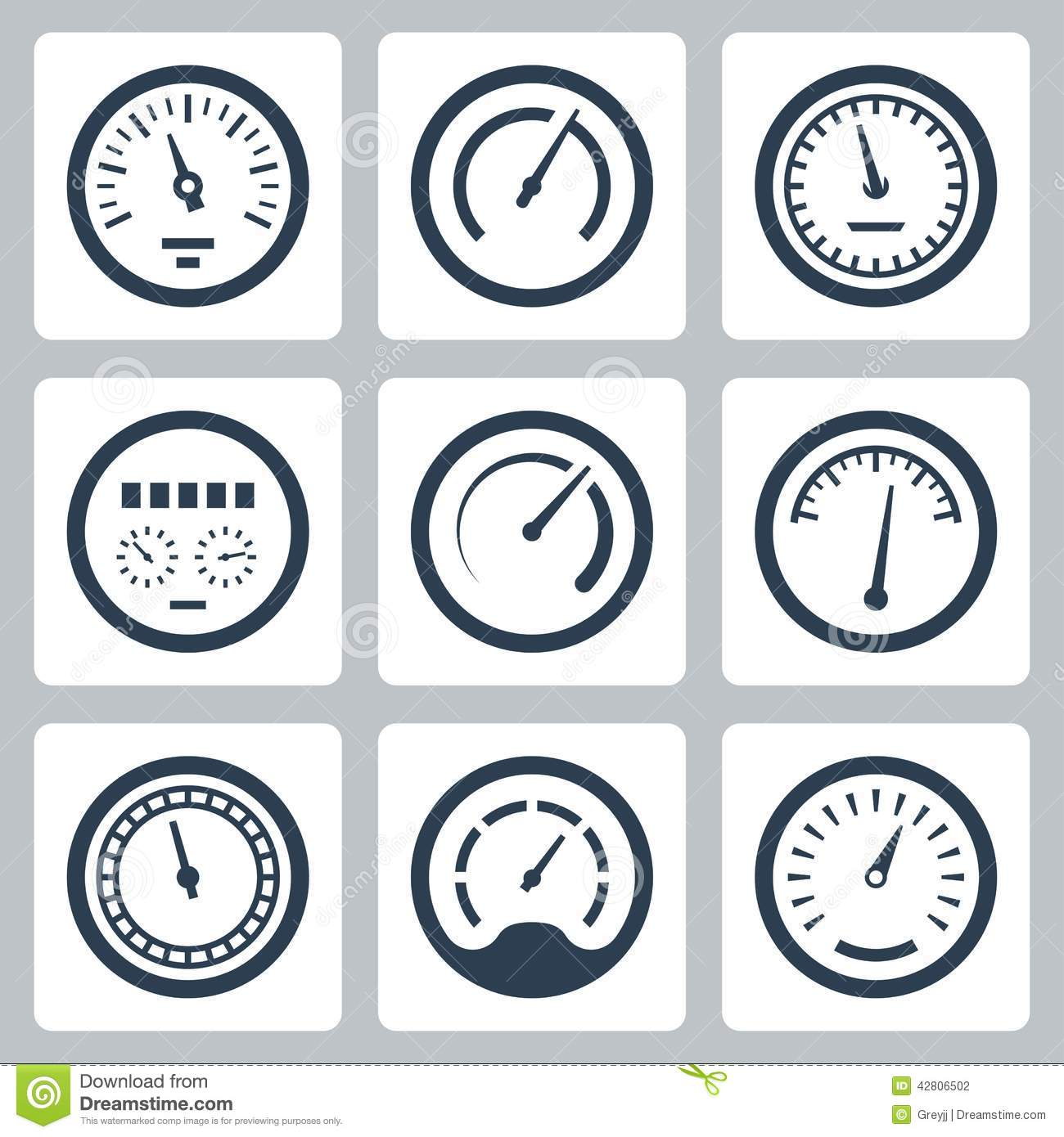 Meters vector icons set #2 stock vector. Illustration of gauge ...