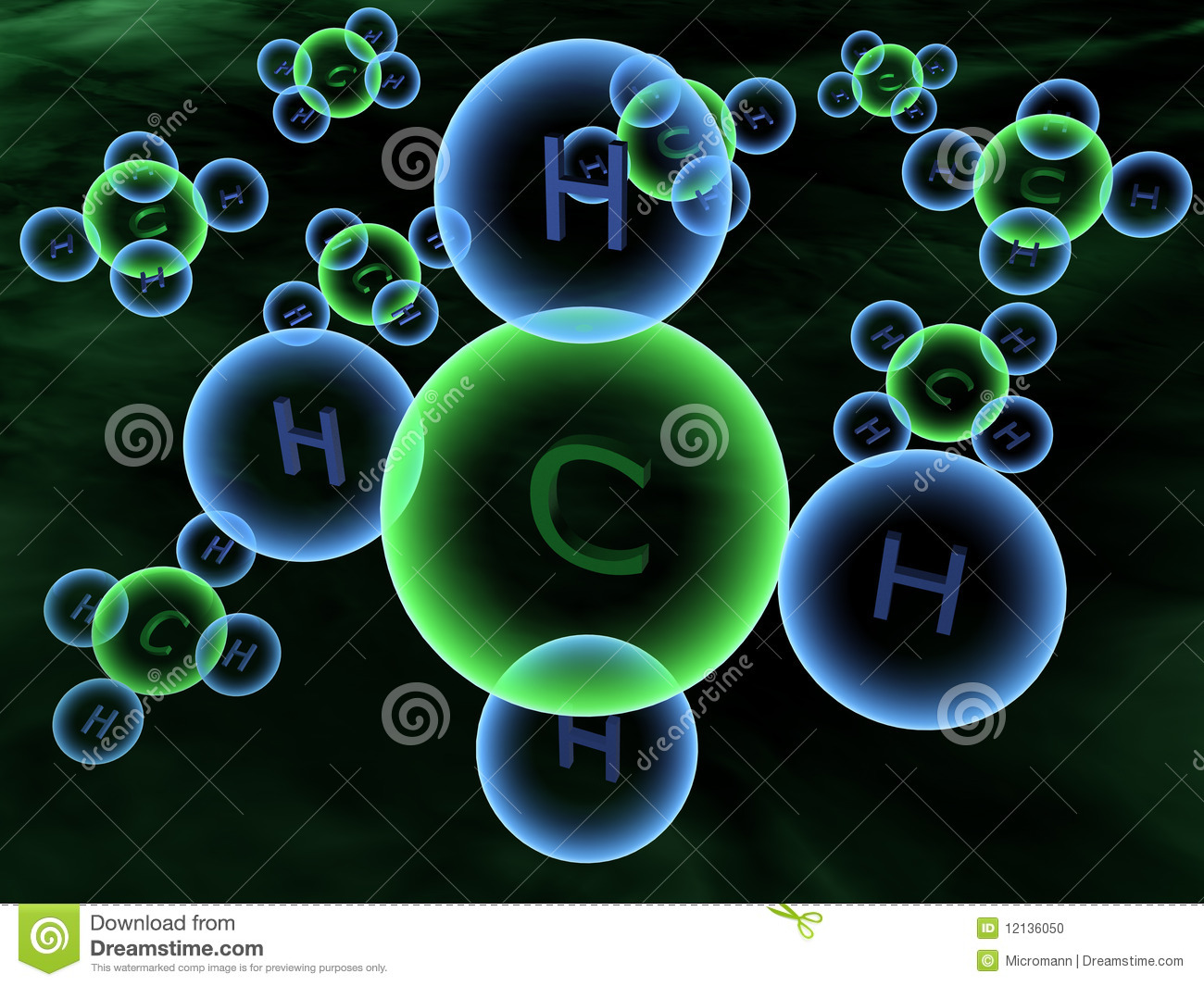 Methane Molecules - 3D Stock Photo - Image: 12136050