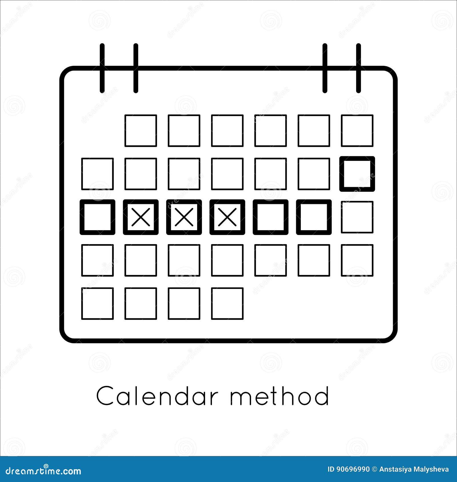 Metodo Del Calendario.Metodo Di Contraccezione Calendario Di Ovulazione Illustrazione