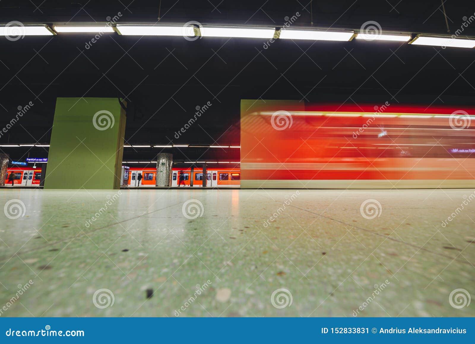 Metro chasing underground station, Frankfurt, Germany