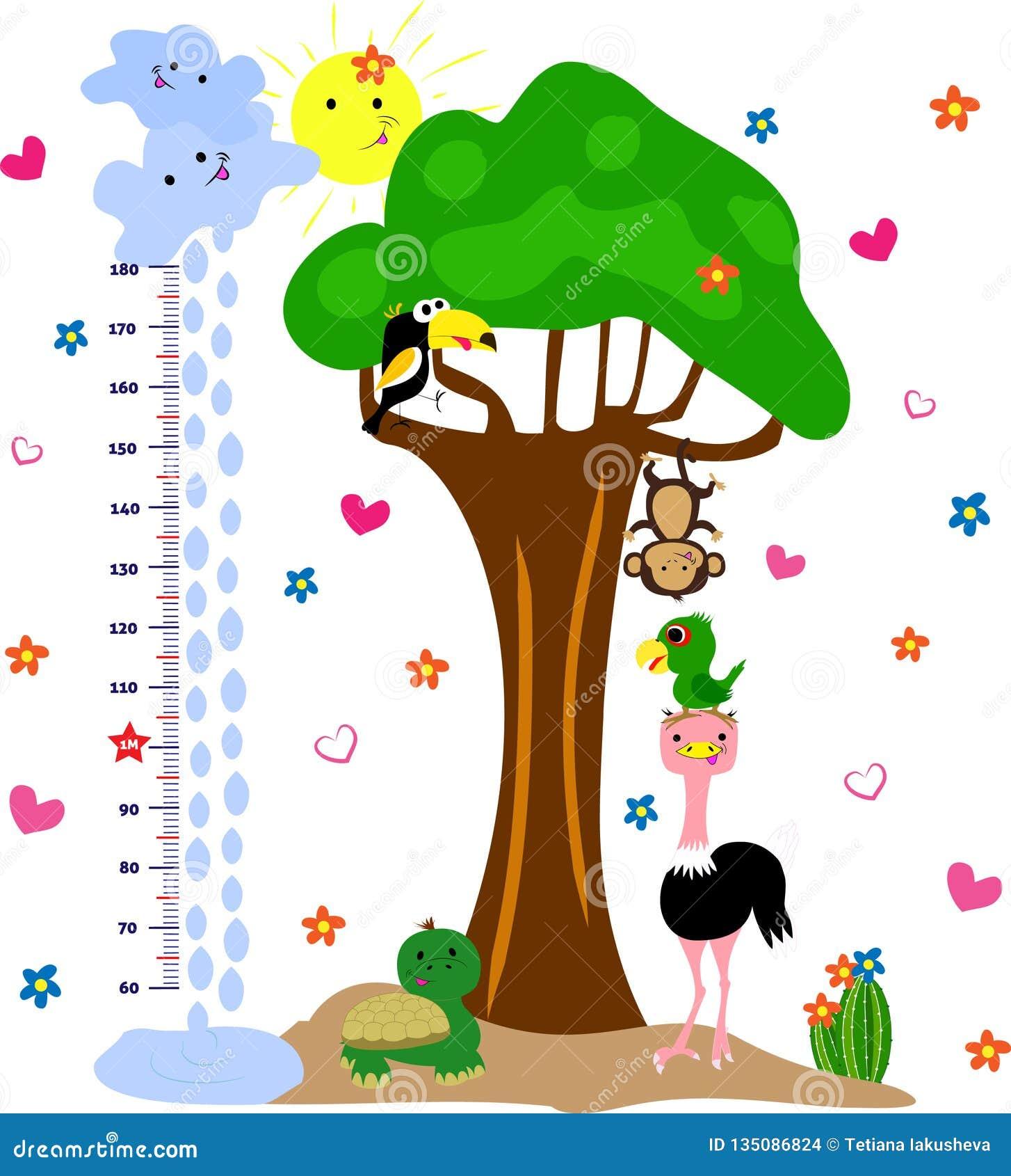Metro de la altura de los niños con los pájaros y el mono lindos Ilustración del vector