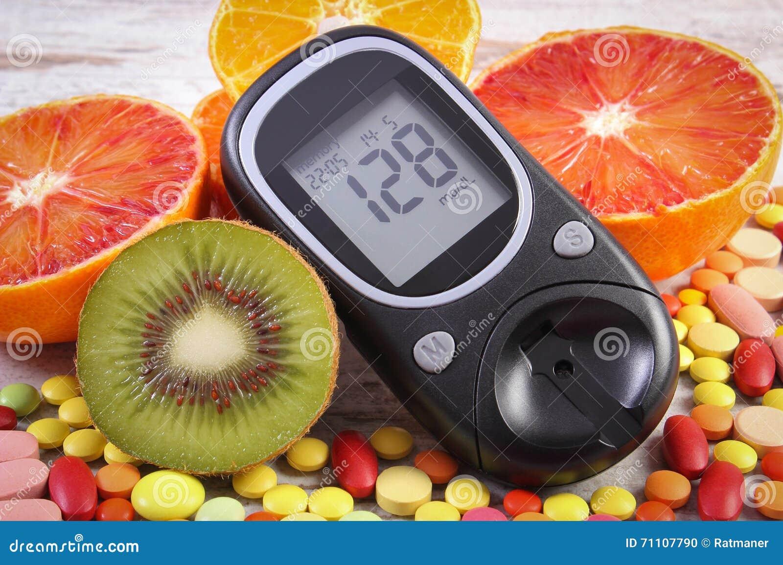 Spuntini Sani E Diabete : Metro del glucosio con il risultato frutti e pillole mediche