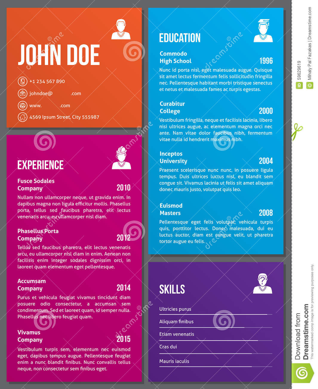 metro design cv resume template stock vector image 59629619 metro design cv resume template