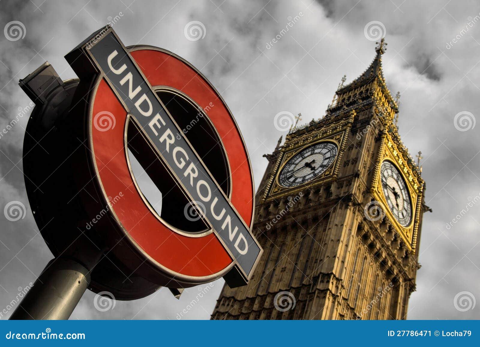 Metro i Big Ben w Londyn
