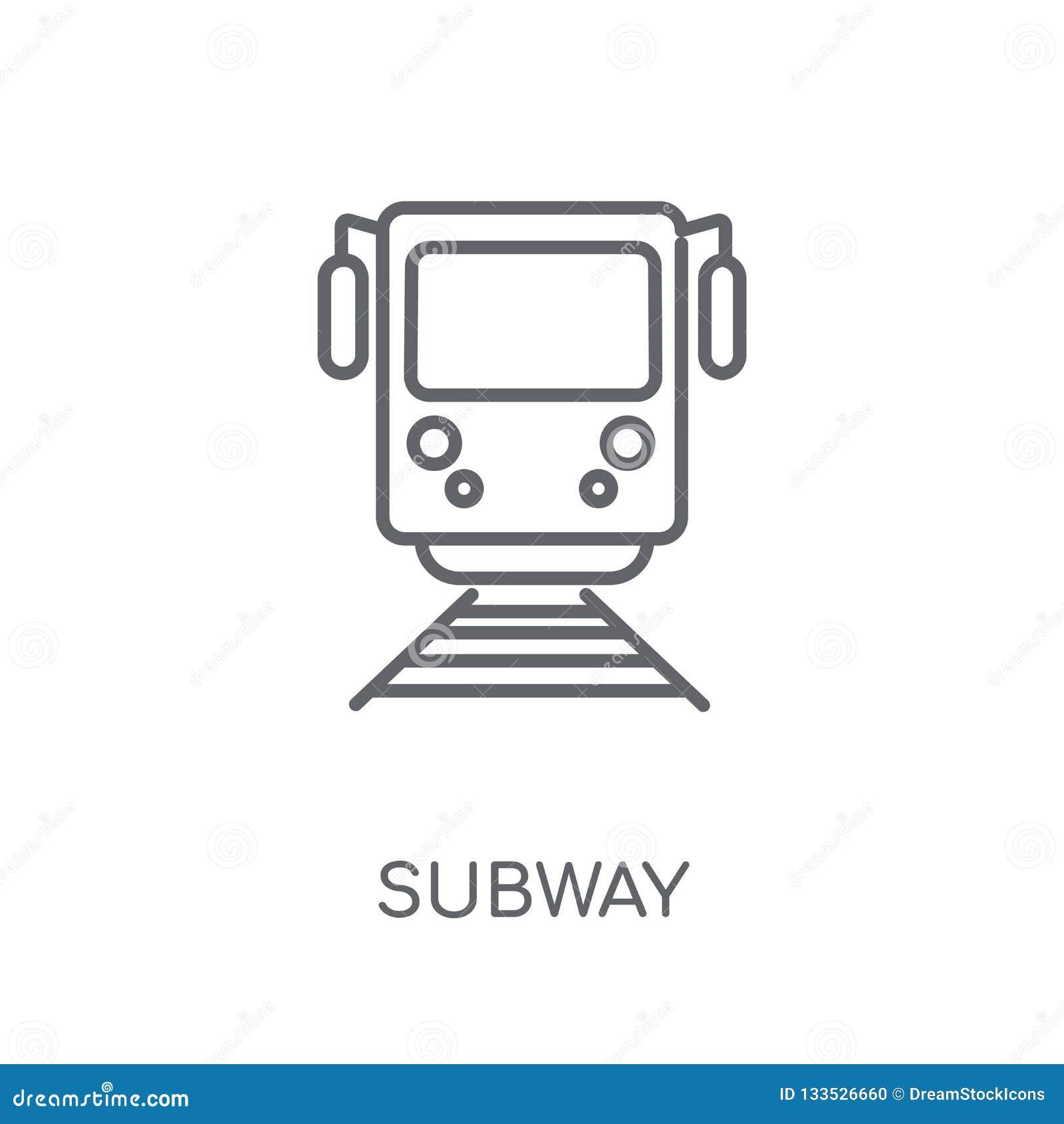 Metro lineair pictogram Modern het embleemconcept van de overzichtsmetro op wit