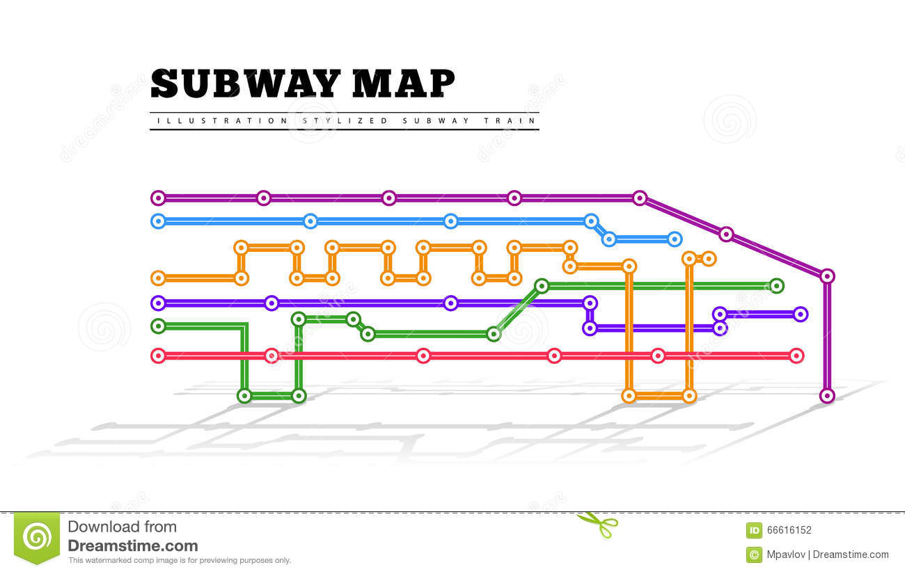 Creative Subway Map.Metro Map In The Form Of A Train Stock Vector Illustration Of Many