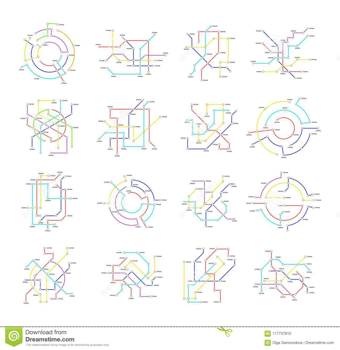 Subway Map Sign.Metro Map Signs Color Thin Line Icon Set Vector Stock Vector