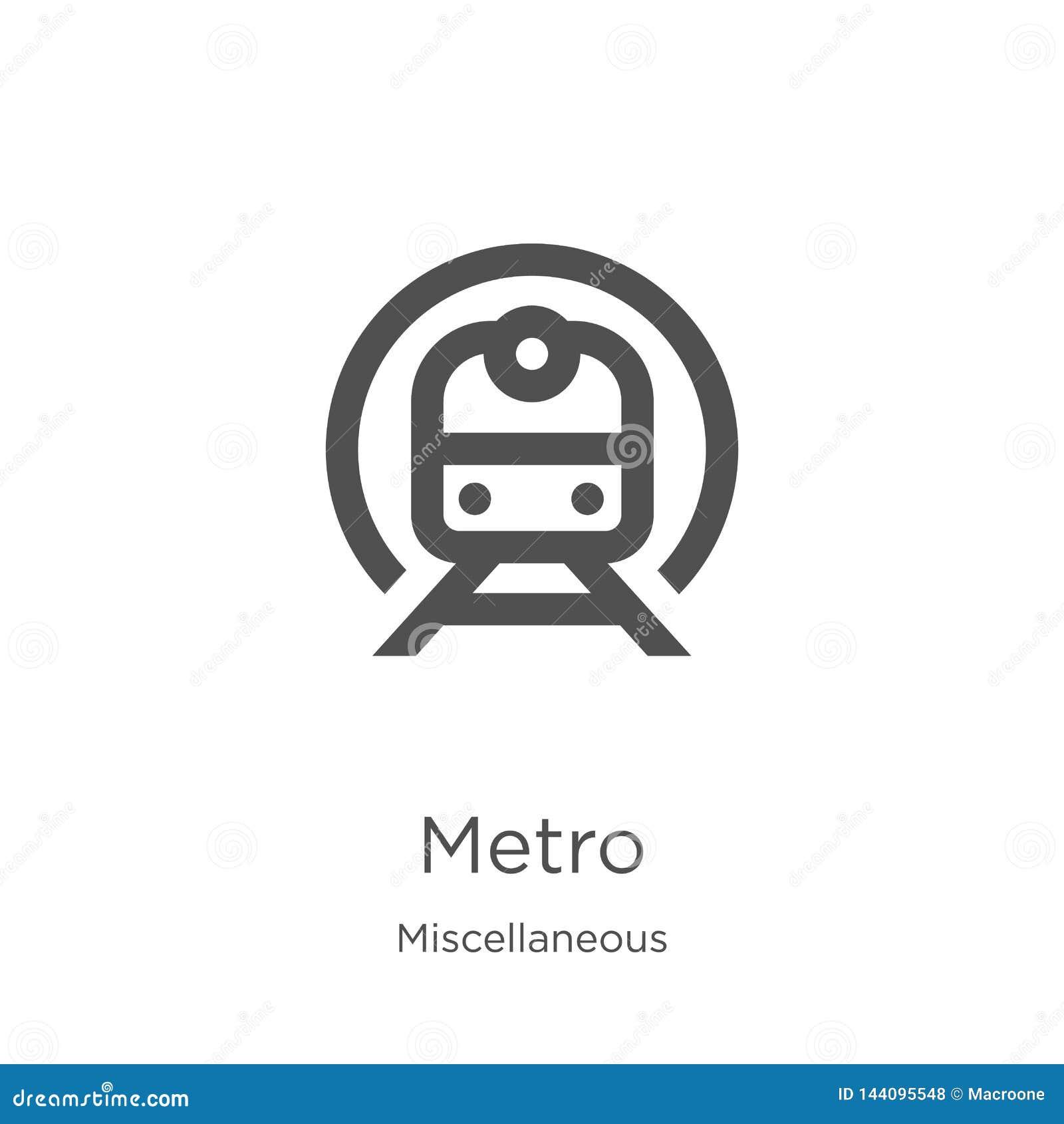 Metro pictogramvector van diverse inzameling De dunne lijnmetro vectorillustratie van het overzichtspictogram Overzicht, dun lijn