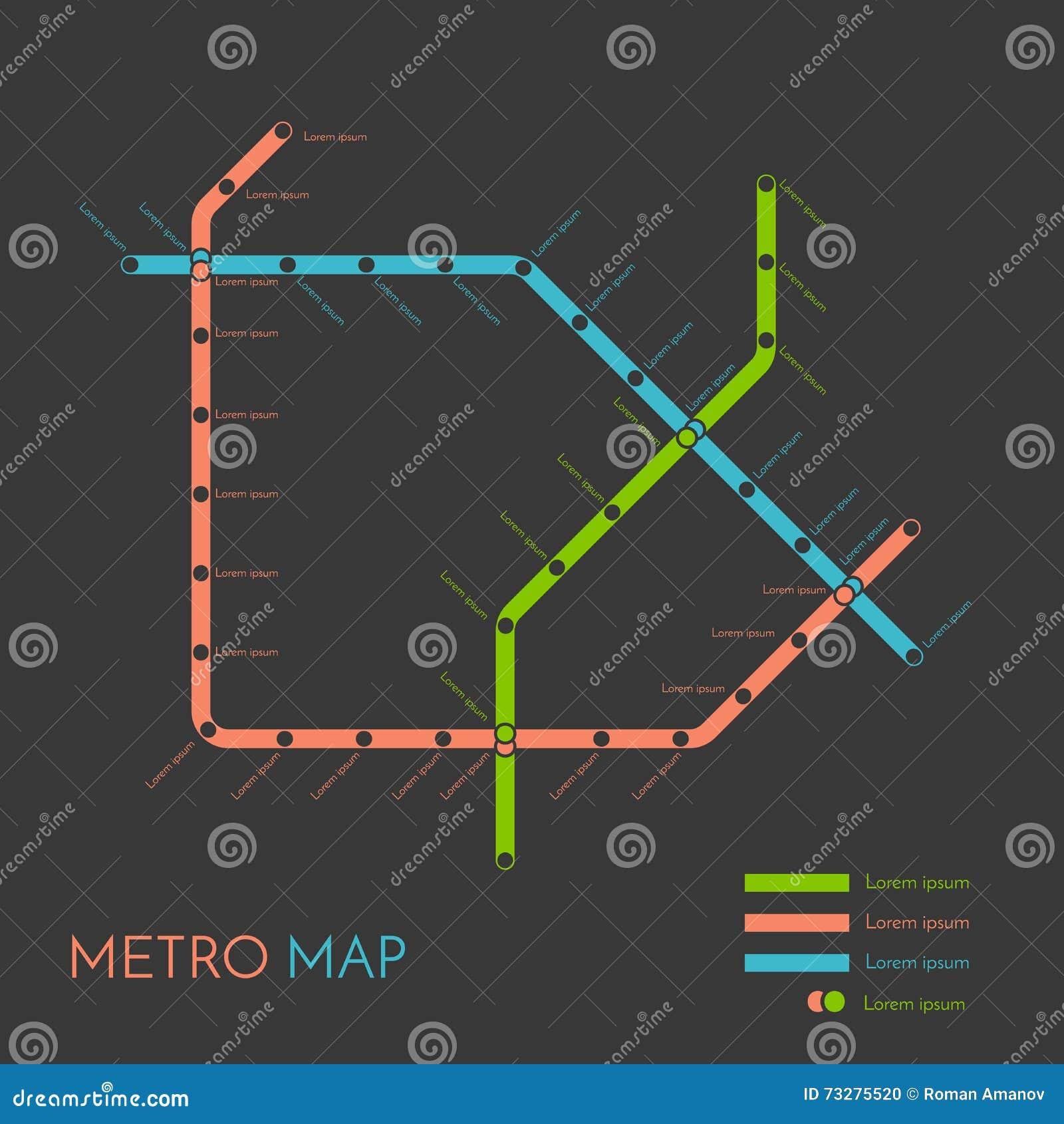 metro or subway map design template city transportation
