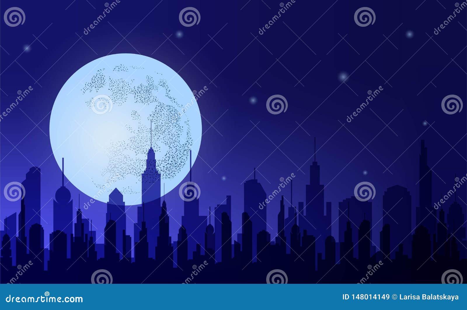 Metropolis De stad van de silhouetnacht tegen de achtergrondhemel en de maan