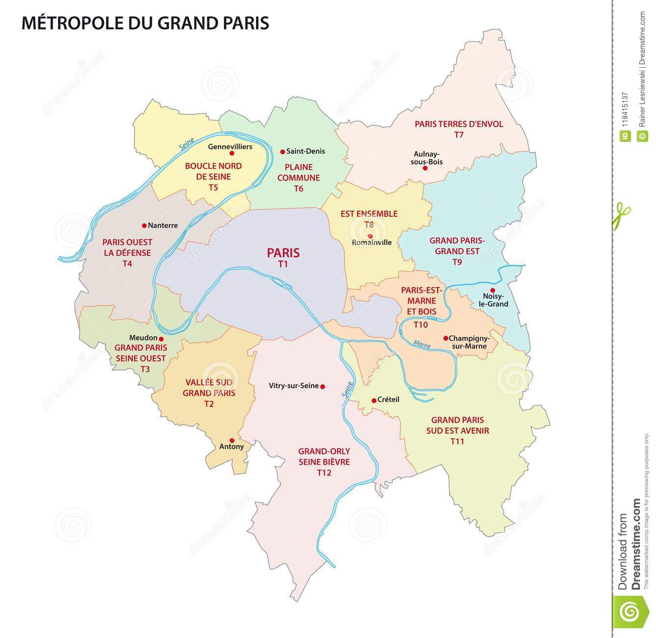 Political Outline Map Of France.Metropolis Of Greater Paris Administrative And Political Vector Map