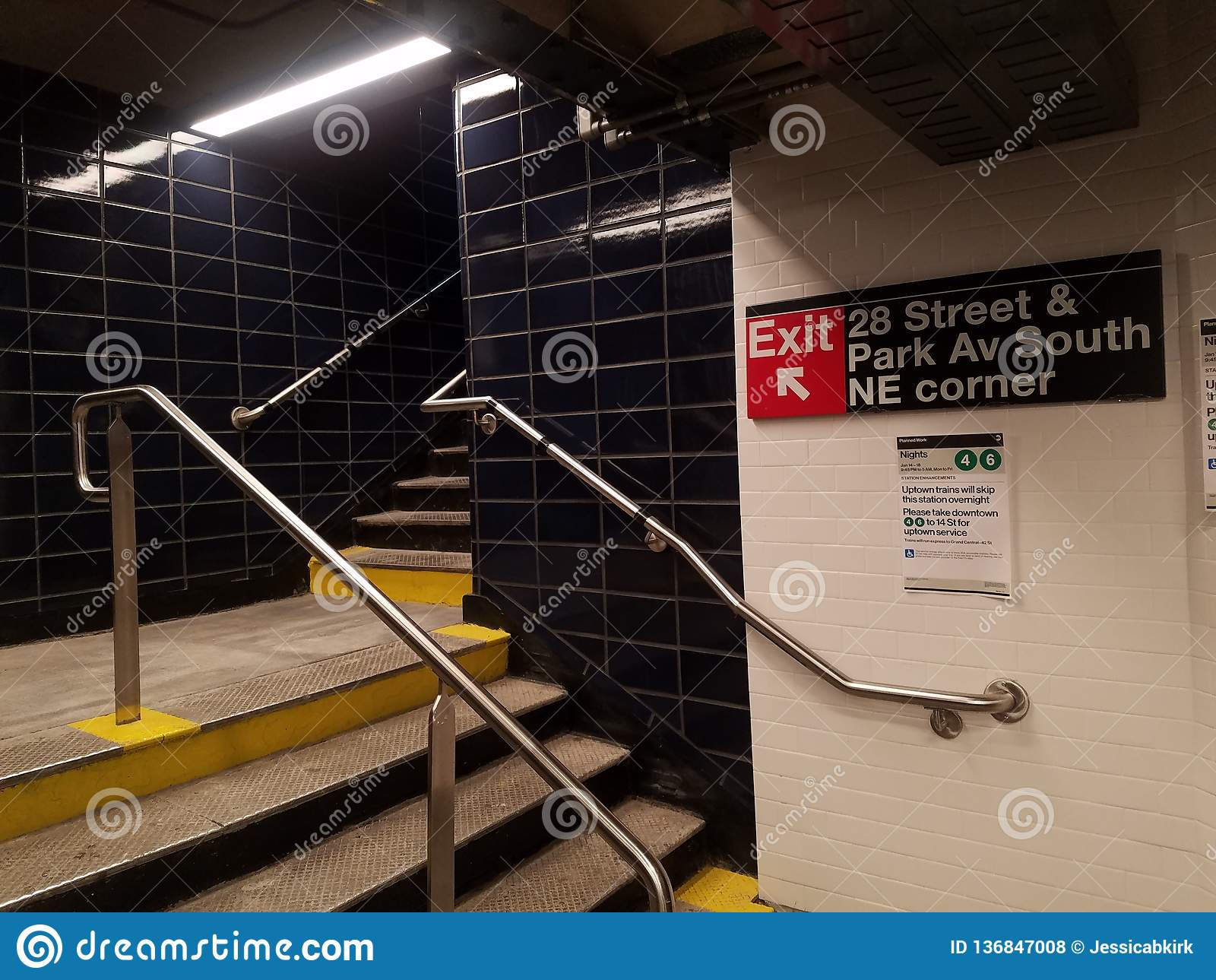 New York, NY USA, January 16, 2019: newly reopened subway station, MTA 28th Street station on the number six Lexington Avenue line