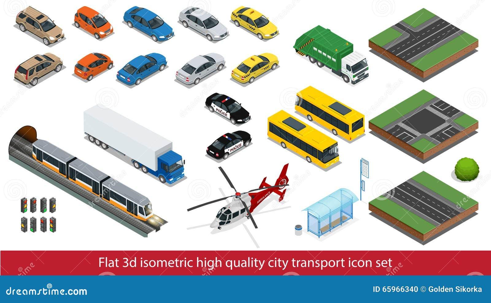 Metropolitana stabilita di alta qualità della città dell icona isometrica di trasporto, polizia, automobile mini, elicottero dell