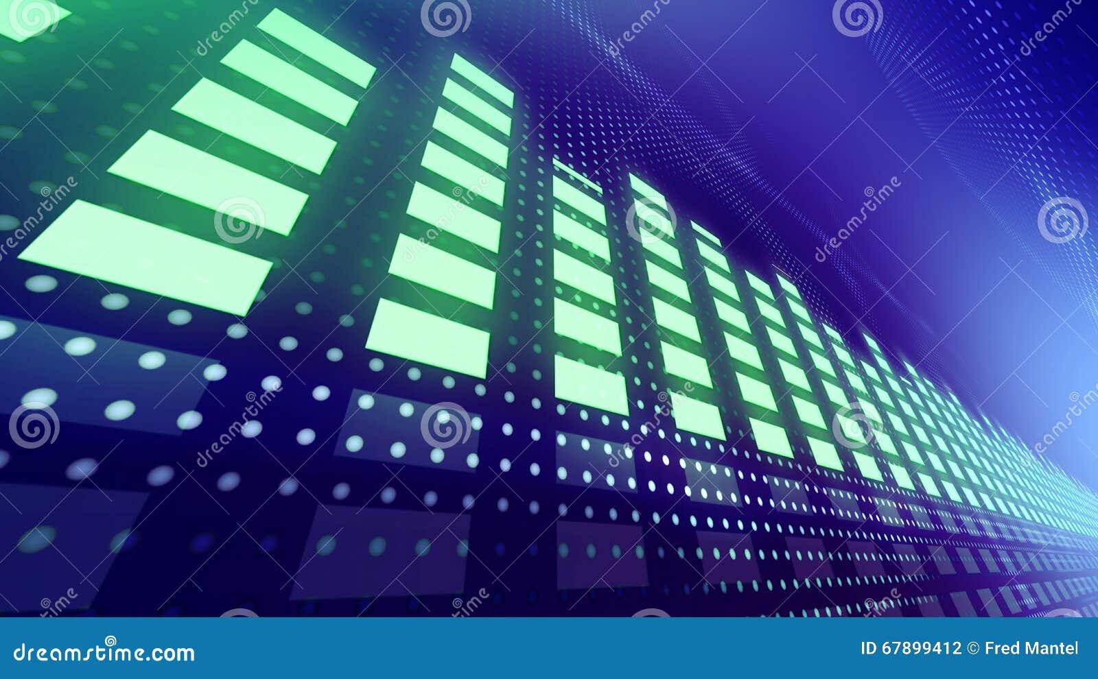 Metros del VU de la música con las luces dinámicas