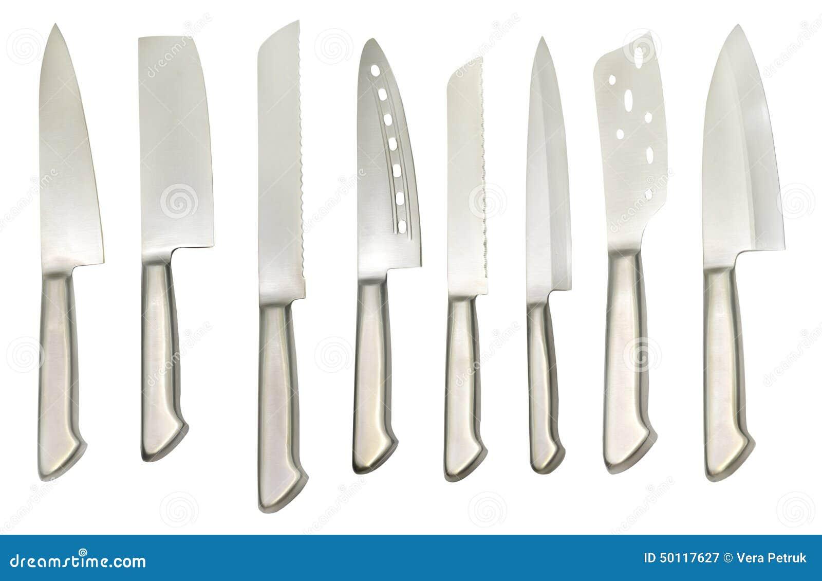 Metta con i vari tipi di coltelli fotografia stock - Coltelli da cucina ...
