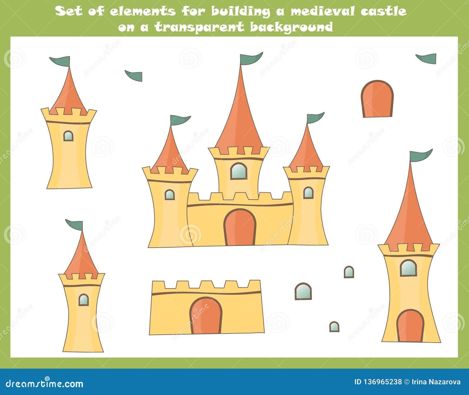 Metta degli elementi del fumetto per la costruzione del castello medievale leggiadramente su un fondo trasparente