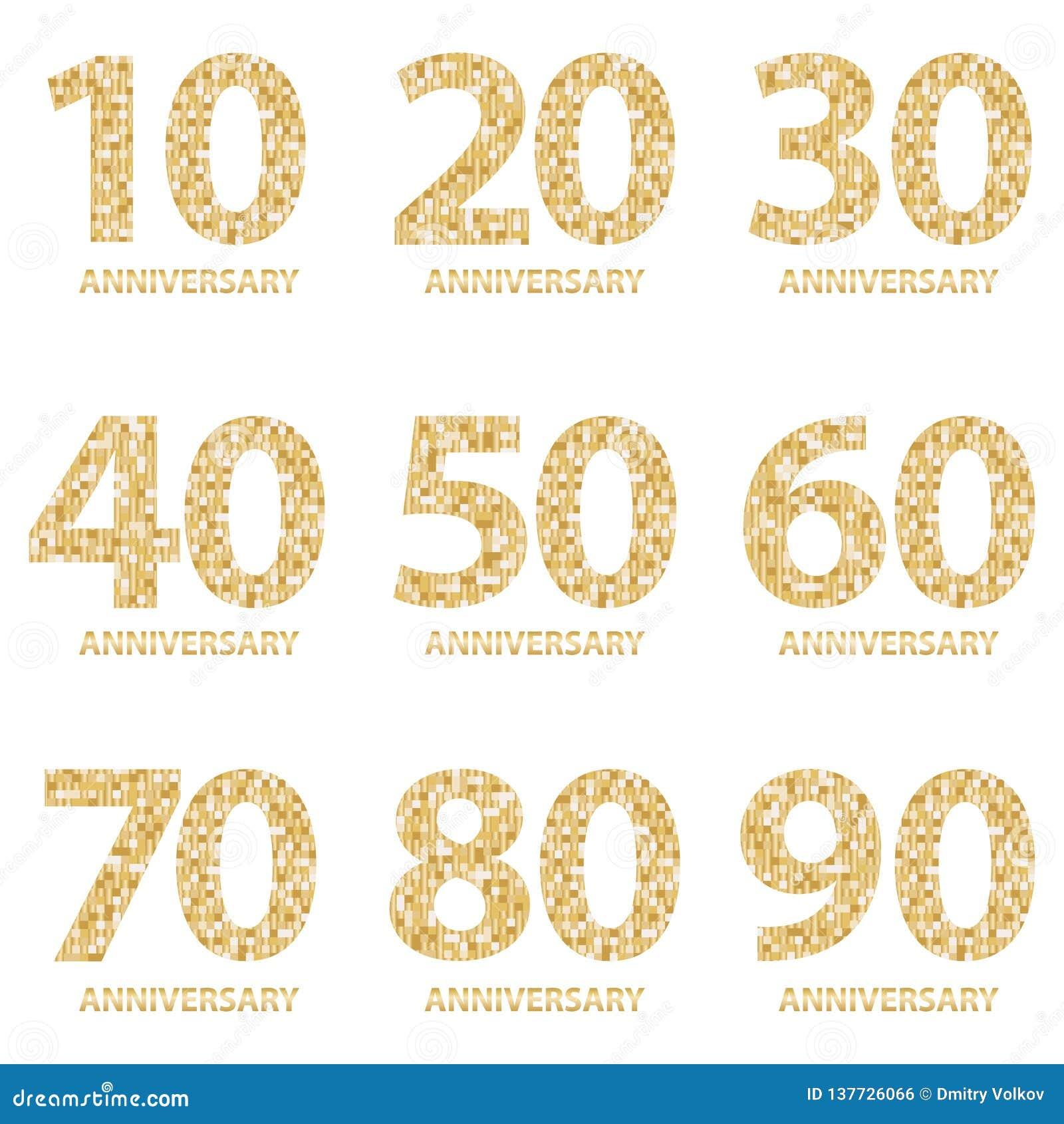 Metta degli emblemi di anniversario, progettazione del modello di anniversario per il web, gioco Insieme del logotype di annivers