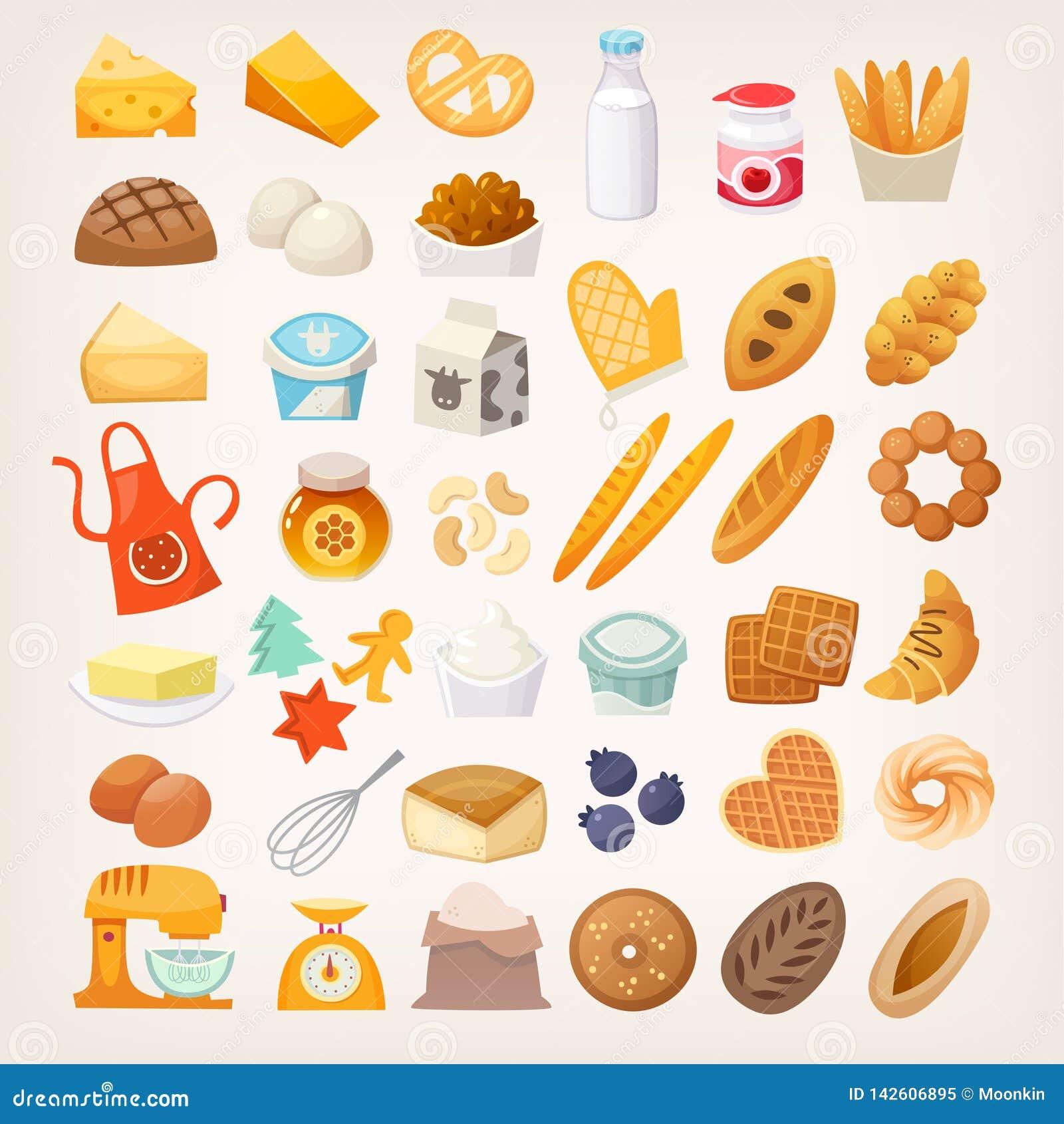 Metta degli ingredienti per la cottura del pane Icone del forno