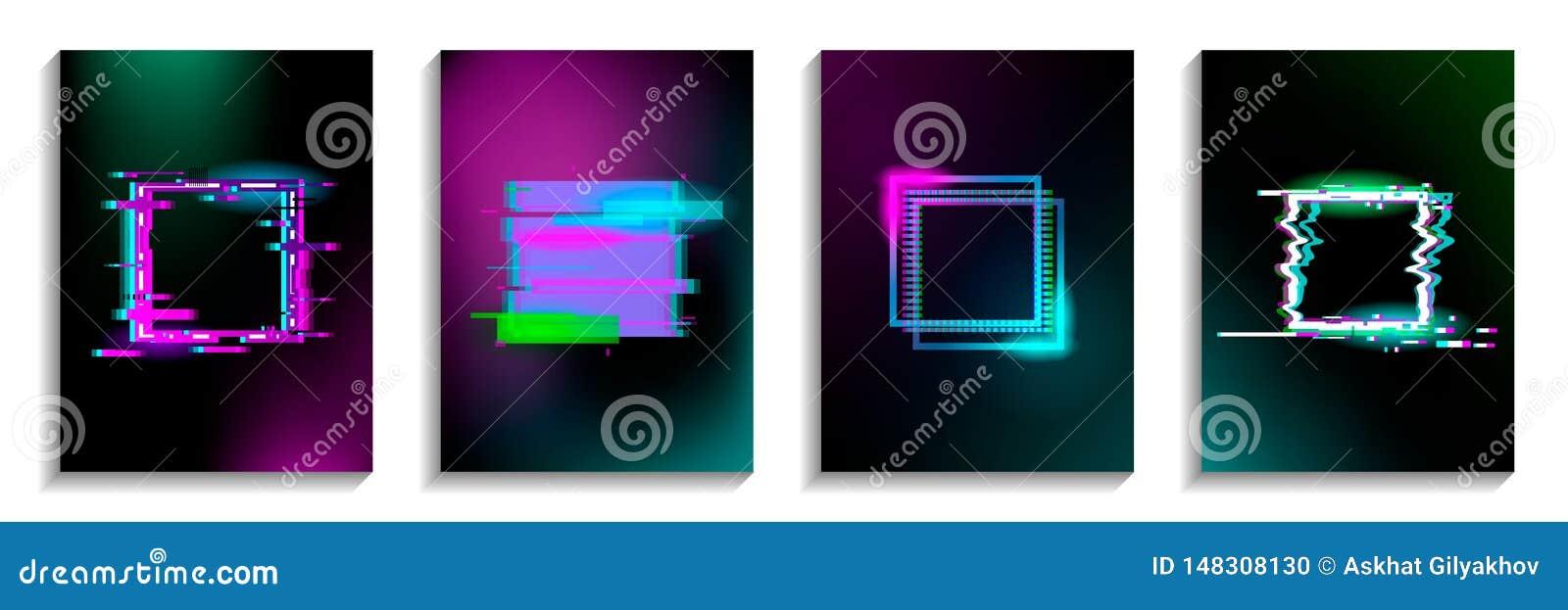 Metta dei quadrati di impulso errato con effetto al neon Progettazione per le carte, inviti, coperture, insegne, alette di filato