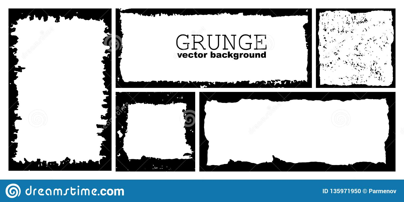 Metta dei telai di lerciume dell inchiostro con i bordi nocivi Confine nero di emergenza Modello di tiraggio della mano di vettor