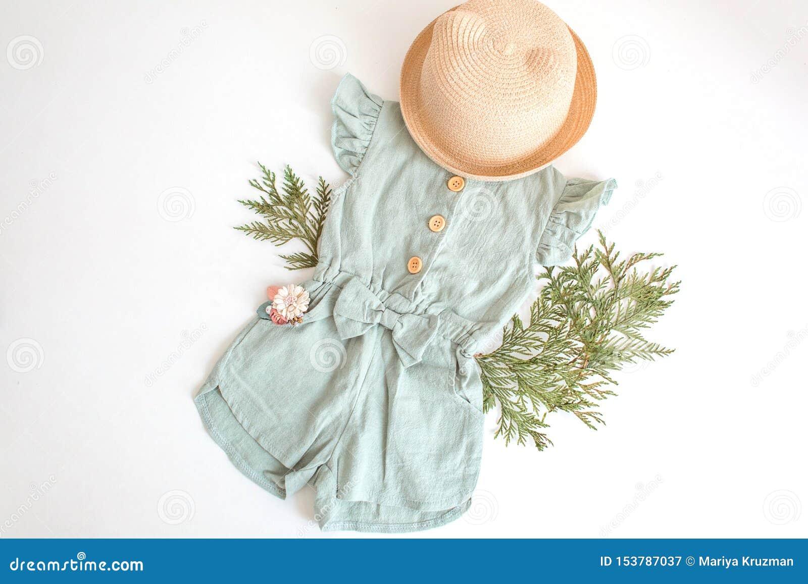 Metta dei vestiti dei bambini dell estate per la ragazza Isolato, spazio della copia Vestito del pagliaccetto, cappello di paglia