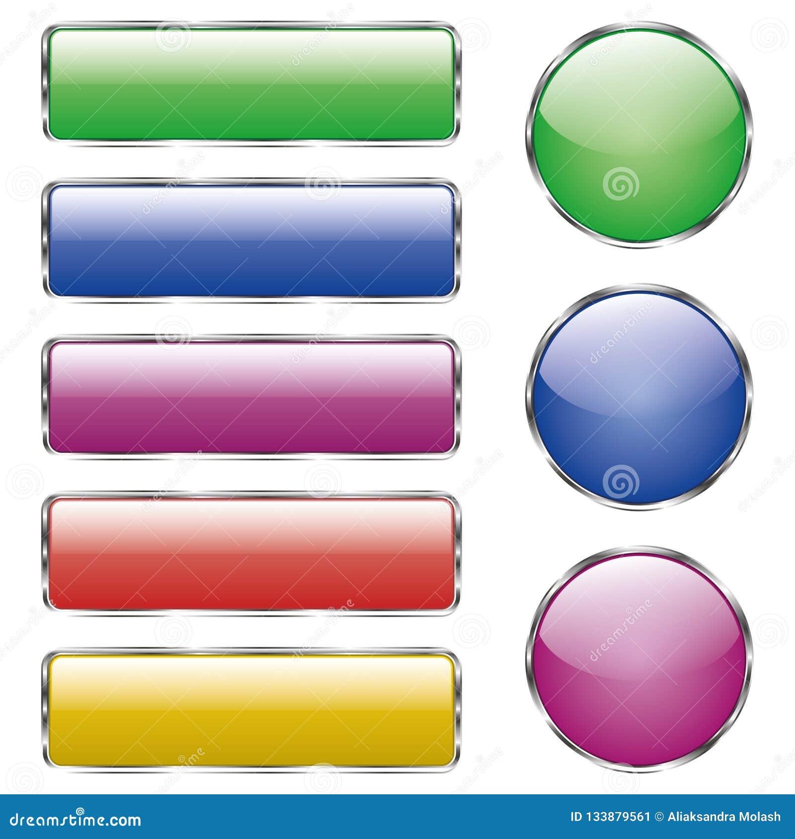 Metta del bottone di vetro colorato di web brillante con la riflessione