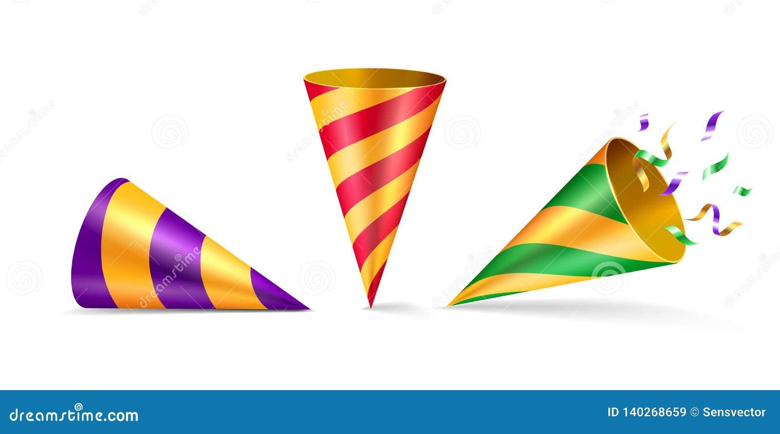 Metta del cappello isolato del partito o del cappello di compleanno del cono
