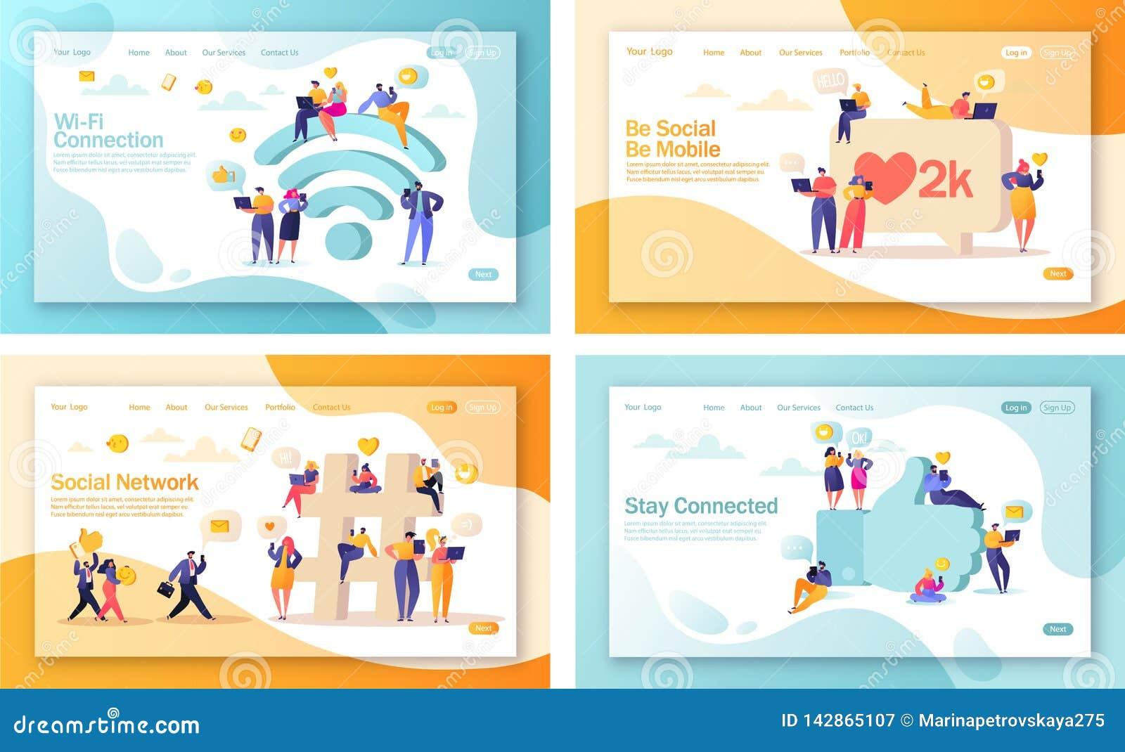 Metta del concetto delle pagine d atterraggio per lo sviluppo del sito Web e la progettazione mobili della pagina Web