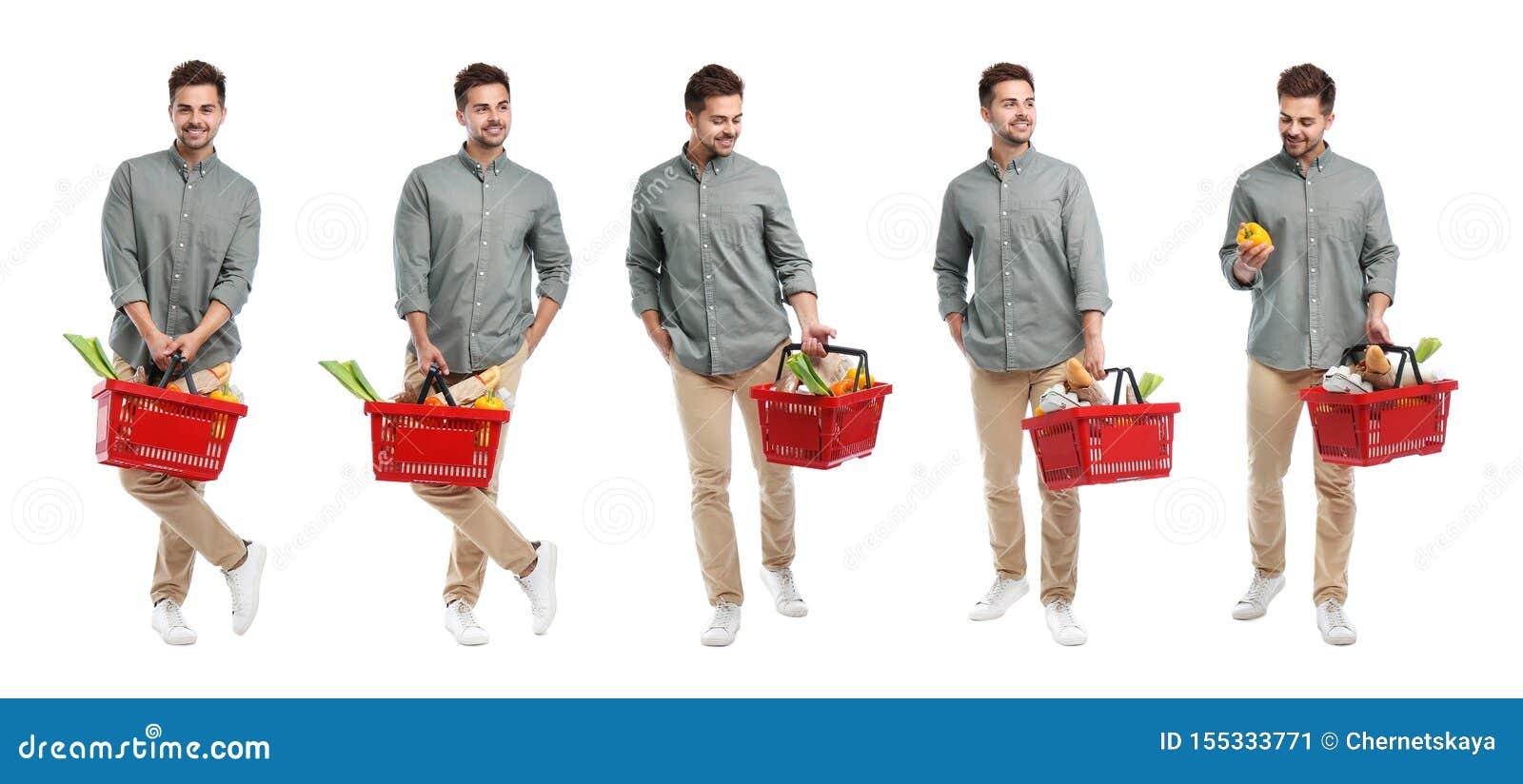 Metta del giovane con il cestino della spesa su bianco