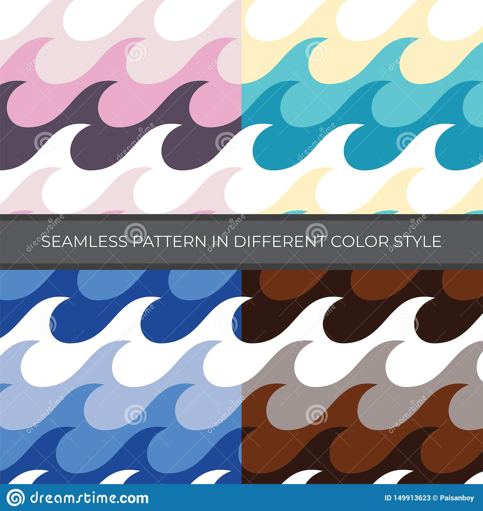 Metta del modello senza cuciture di vettore dell estratto con uno stile di quattro colori Il colore è rosa, verde, blu, Brown